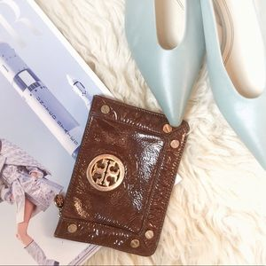 Tory Burch zip coin purse patent leather